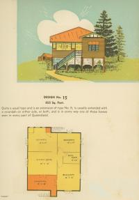 Floor plan and drawing of Queenslander house, 1939