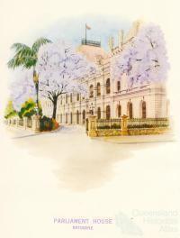 Jacarandas outside Parliament House, Brisbane, 1962
