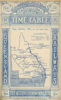 Cover of Queensland Railways Public Timetable, 1925