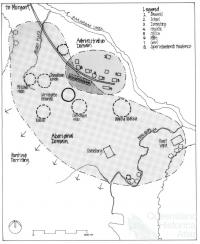 Barambah Aboriginal Settlement in the 1920s showing the areas of Bralbin Creek and also Muddy Flats, 2001