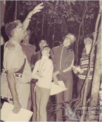 Len Webb and students at the opening of the Tully State High School Rainforest Reserve, 1982