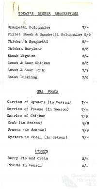Specials menu, Londys cafe, 1962