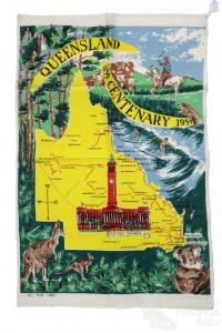 Tea-towel: Queensland Centenary, 1959