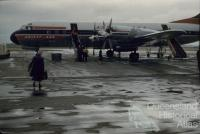 Ansett-ANA Electra aircraft at airport, Eagle Farm, 1960