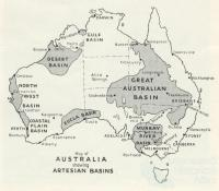 Map of Australia showing Artesian Basins, Walkabout, July 1945