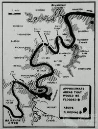 Brisbane River flood map, 1953