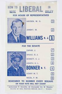 Neville Bonner election card, 1972