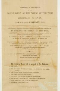 Programme for the inauguration of the Queensland railway, 1864