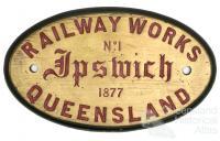 Original plate from Ipswich locomotive, 1877