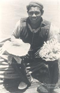 Diver with encrusted pearl-shell, 1949