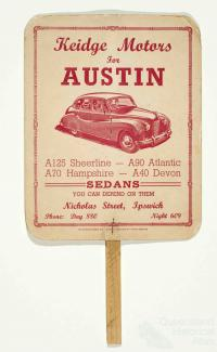 Advertising fan for Austin cars, c1950