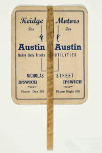 Advertising fan for Austin cars, c1950