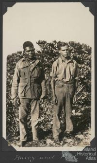 Harry and Paul, Scientific Expedition staff, Low Isles, 1928