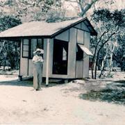 Elizabeth Coombs outside cabin on Hayman Island, 1938