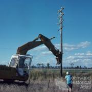 Redundant telephone pole, Chinchilla Shire, 1979
