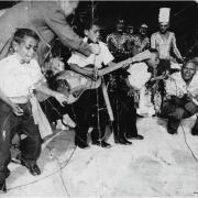 Cherbourg musician Angus Rabbitt (left) and others performing