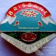 Brisbane badges which include poinsettia motif, 1930-60