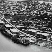Wool stores and ships docked at Teneriffe Wharves, Brisbane, 1925