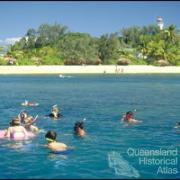 Tourists snorkelling off Low Isles, 1996