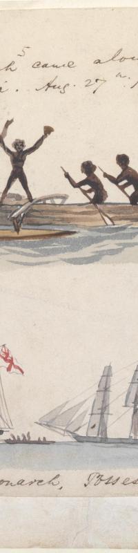 Native canoe and Possession Island, 1855