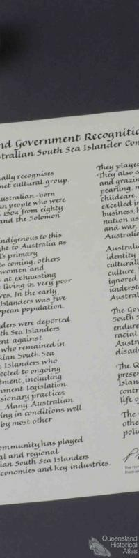 Australian South Sea Islander Community Recognition Statement, 2000
