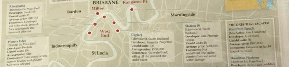 Projects affected by the flood, 2011