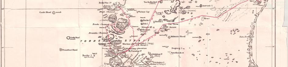 Map of Torres Strait, showing route of pearl shell commission, 1908